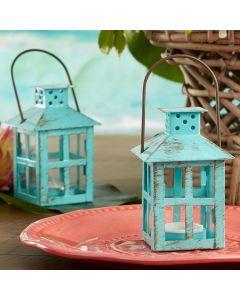 Vintage Blue Distressed Lantern - Small
