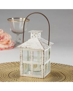 Vintage White Distressed Lantern - Medium