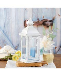 Antique White Ornate Lantern - Medium