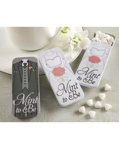 Mint to Be Bride and Groom Slide Mint Tins with Heart Mints