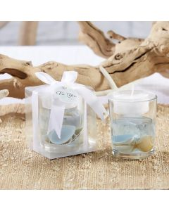 """Seashell"" Gel Tea Light Holder w/Palm Wax"