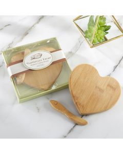 """""""Tastefully Yours"""" Heart Shaped Bamboo Cheese Board"""