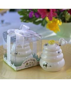 """""""Sweet As Can Bee"""" Ceramic Honey Pot with Wooden Dipper"""