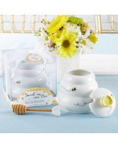 Sweet as Can Bee Ceramic Honey Pot with Wooden Dipper - Large
