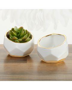 Geometric Ceramic Planter - Small (Set of 2)