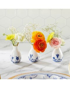 Blue Willow Ceramic Bud Vase (Set of 3)