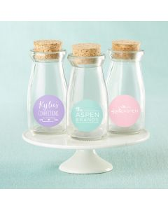 Personalized Vintage Milk Bottle Favor Jar - Custom Design (Set of 12)