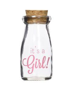 3.8 oz. Printed Vintage Milk Bottle Favor Jar - It's a Girl Pink Blue (Set of 12)
