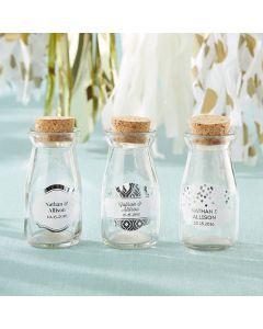 Personalized 3.8 oz. Vintage Milk Bottle Favor Jar - Silver Foil (Set of 12)