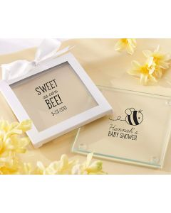 Personalized Glass Coasters Sweet as Can Bee Baby Shower (Set of 12)