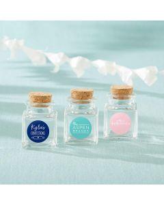 Personalized Petite Treat Square Glass Favor Jar - Custom Design (Set of 12)