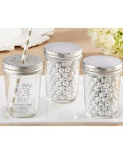 Personalized Printed Mason Jar - He Asked, She Said Yes (Set of 12)