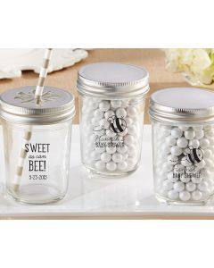 Personalized Glass Mason Jar-Kate's Sweet as can Bee Baby Shower Collection (Set of 12)