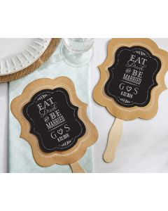 12 x Personalized Kraft Fan - Eat, Drink, Be Married