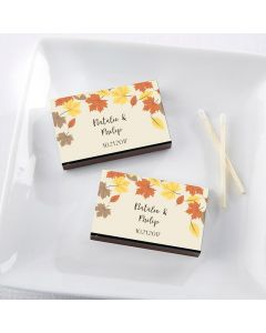 Personalized Black Matchboxes - Fall Leaves (Set of 50)