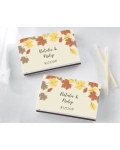 Personalized White Matchboxes - Fall Leaves (Set of 50)