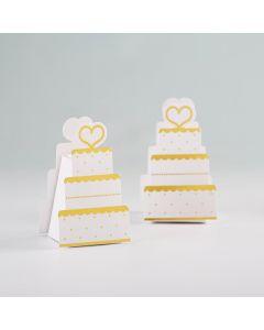 Gold Wedding Cake Favor Box (Set of 12)
