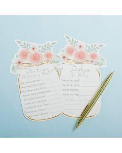 Floral Mason Jar Baby Shower 5-Pack Game Card Set (30 sheets each)