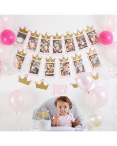 1st Birthday Milestone Photo Banner & Cake Topper - Princess Party