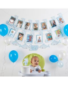 1st Birthday Milestone Photo Banner & Cake Topper - Shark Party