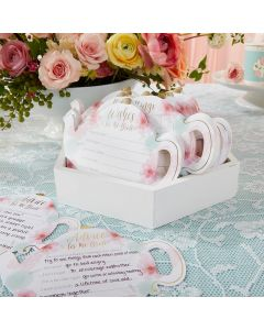 Floral Teapot Bridal Shower 5-Pack Game Card Set (30 sheets each)