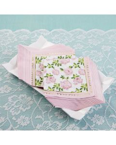 Tea Time Whimsy 2 Ply Paper Napkins - Pink (Set of 30)