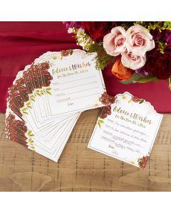 Burgundy Blush Floral Wedding Advice Card (Set of 50)