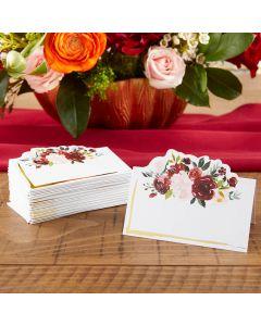 Burgundy Blush Floral Tent Place Card (Set of 50)