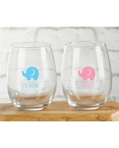 Personalized 9 ounce Stemless Wine Glass - Little Peanut