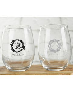 Personalized 9 ounce Stemless Wine Glass - Romantic Garden