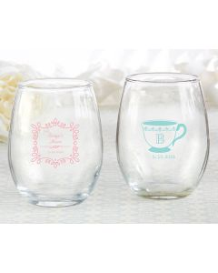 Personalized 9 ounce Stemless Wine Glass - Tea Time