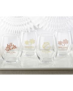 Personalized 15 ounce Stemless Wine Glass - Fall