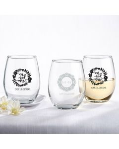 Personalized 15 ounce Stemless Wine Glass - Romantic Garden