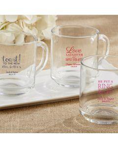 Personalized 10 oz. Glass Coffee Mug - Wedding