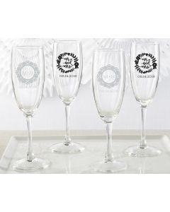 Personalized Champagne Flute - Romantic Garden