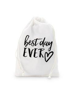 """best Day Ever"" Print Muslin Drawstring Favor Bag - Medium (12)"