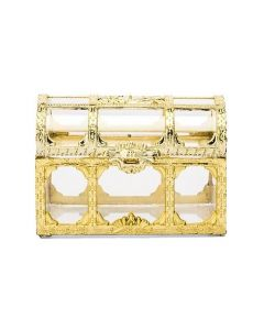 Small Clear Plastic Wedding Favor Container Set - Gold Treasure Chest (set of 2)