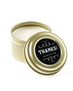Personalized Gold Tin Candle Wedding Favor - Chalkboard 3oz