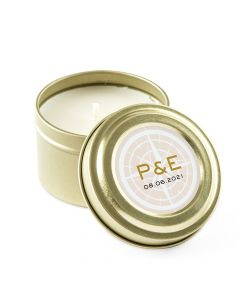 Personalized Gold Tin Candle Wedding Favor - Vintage Travel 3oz