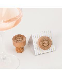 Custom Engraved Reusable Wooden Bottle Stopper - Love Wreath