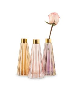 Tapered Colored Glass Bud Vases - Pink - Set Of 3