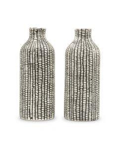 Black Tribal Patterned Decorative Table Vases - Set Of 2