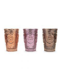 Pressed Glass Tealight & Votive Candle Holders - Purple - Set Of 3