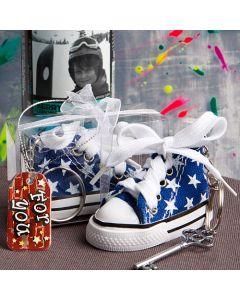 Oh-so-cute blue star print baby sneaker key chain
