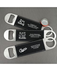 Personalized Black Faux Leather Paddle Bottle Openers