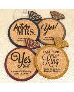 Personalized Diamond Ring Cork Coaster