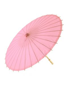 Pretty Paper Parasol With Bamboo Handle - Pastel Pink
