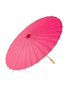 Pretty Paper Parasol With Bamboo Handle - Fuchsia