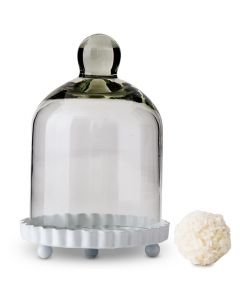 Small Glass Bell Jar With White Base Wedding Favor ( Set of 4 )