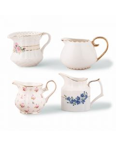 Vintage Creamer Assortment Favor Vase Set ( Set of 4 )